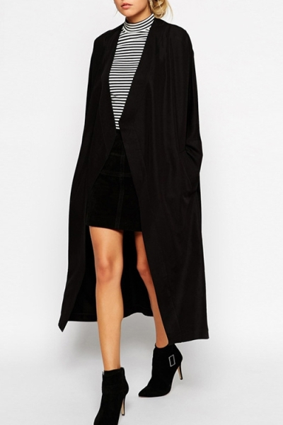 Collarless Black Trench Coat. Shop this look on www.showmethemuhnie.com