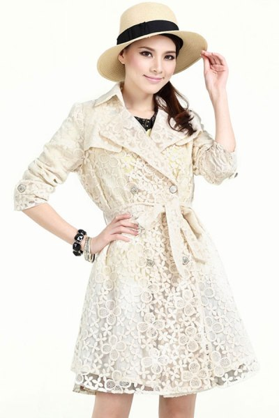 Embroidered-Lace-Belted-Trench-Coat